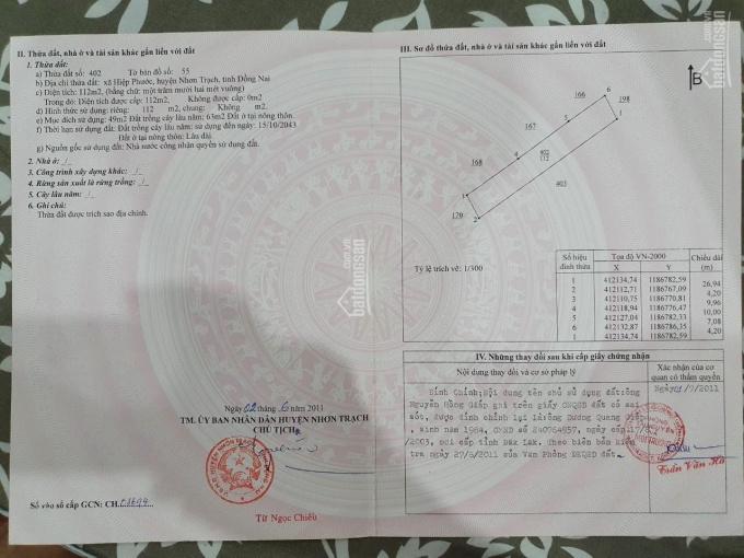 Bán đất trường tiểu học Phước Lai, thị trấn Hiệp Phước, Nhơn Trạch, LH 0975845296 ảnh 0