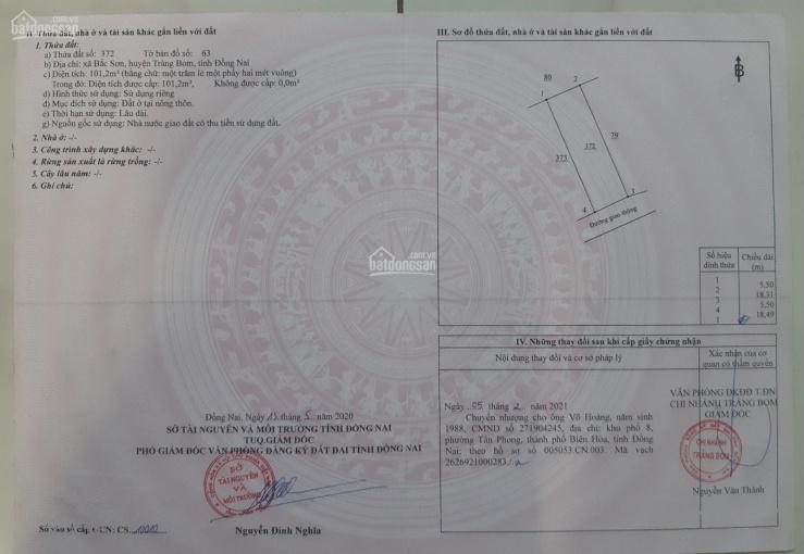 Bán rẻ lô đất Bắc Sơn - Trảng Bom, đường Bắc Hòa - Bắc Sơn, 101.75m2 sổ hồng riêng, LH 0937.175.015 ảnh 0