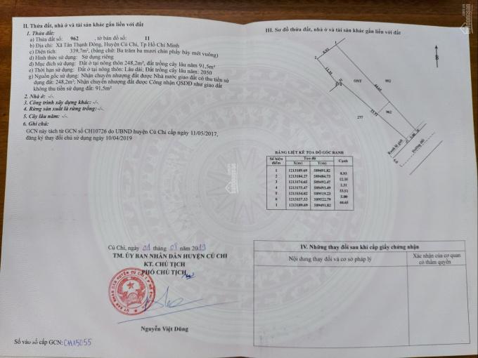 Bán đất thổ cư xây xưởng hoặc nhà trọ cho thuê, Tân Thạnh Đông, H. Củ Chi ảnh 0