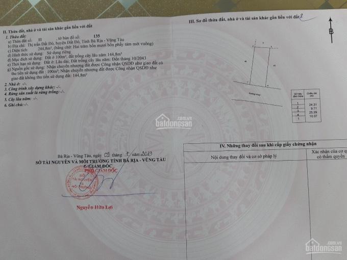 Cần bán đất mặt tiền đường Huỳnh Khương Ninh, trung tâm thị trấn Đất Đỏ ảnh 0