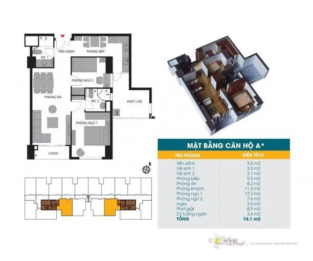 Duy nhất căn 74,4m2 rộng nhất, rẻ nhất giá 32 triệu/m2, chung cư 789 Xuân Đỉnh, Ngoại Giao Đoàn ảnh 0