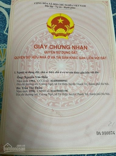 Bán nhà chính chủ Tứ Hiệp Thanh Trì gần bệnh viện Nội Tiết Trung Ương, DT 38m2, LH 0988650134 ảnh 0