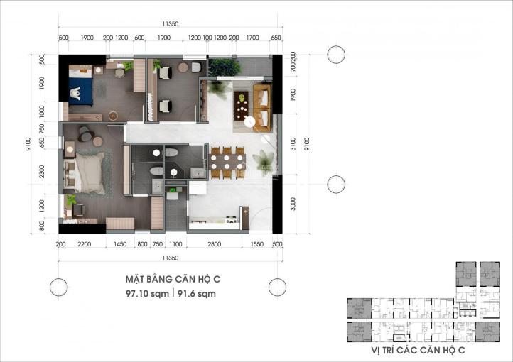 Bán căn hộ Centana 97m2, 3PN, hướng Tây Bắc, NTCB, giá 3.75 tỷ bao thuế phí. LH 0902807869 ảnh 0