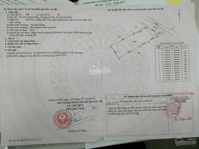 Bán đất vườn Xã Tân Thạnh Đông, Huyện Củ Chi, TPHCM, DT: 25x83=2064m2 ảnh 0