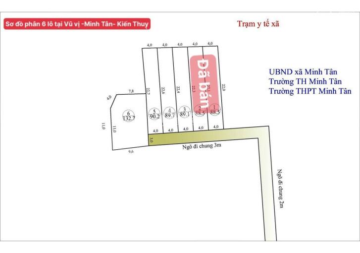 Bán gấp đất thổ cư 90m2 giá 540tr tại Vũ Vị, Minh Tân, Kiến Thụy, Hải Phòng ảnh 0
