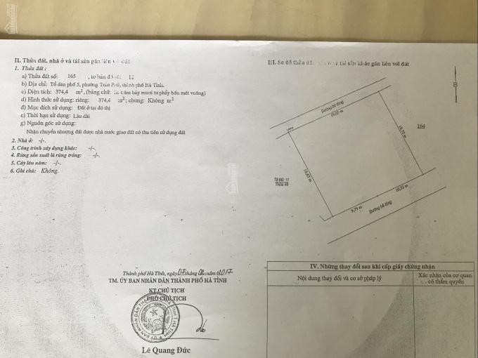 Bán lô đất 4 mặt tiền tổ dân phố 5, phường Trần Phú, Hà Tĩnh DT 460m2 ảnh 0