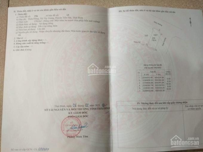 Chính chủ bán lô 139 m2 tại Tiền Hải, Thái Bình ảnh 0