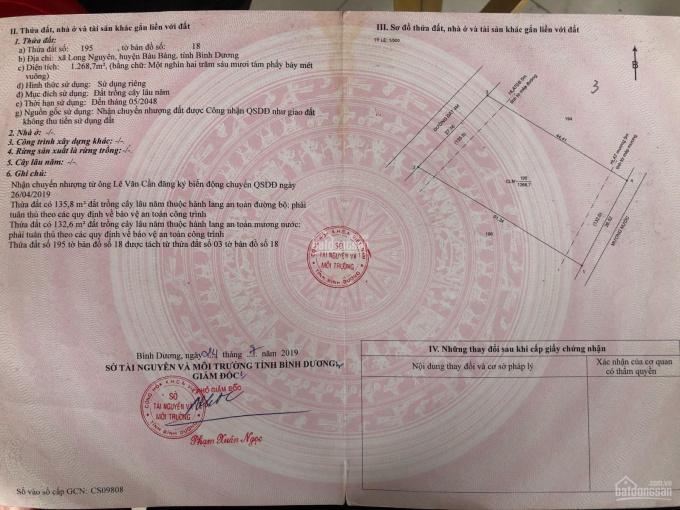 Chính chủ gửi bán đất gần chợ Long Nguyên - Bàu Bàng, DT 27x50 tổng 1268.7m2. Liên hệ 0911493078 gc ảnh 0