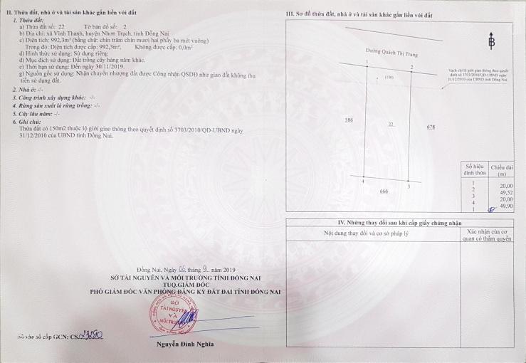 Cần tiền bán gấp quán cafe 20x55m, mặt tiền Quách Thị Trang, Nhơn Trạch ảnh 0