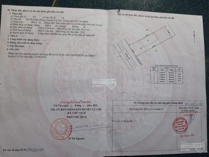 Chủ gửi bán nhà đất MT đường nhựa tại xã Phú Hòa Đông, Củ Chi, Hồ Chí Minh ảnh 0
