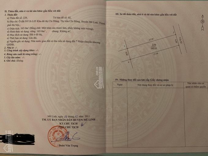 Chính chủ bán 165m2 đất ở đô thị L05 NV18 KĐT Chi Đông, Mê Linh, Hà Nội ảnh 0
