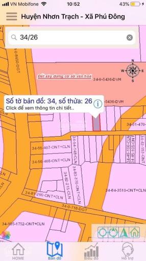 Bán đất lô Phú Đông một xẹt Hùng Vương, Nhơn Trạch, Đồng Nai. 6mx22m. Full thổ cư. LH: 0907353383 ảnh 0