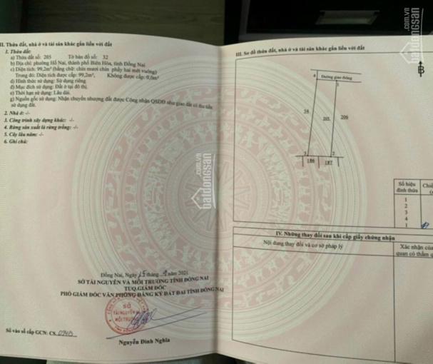 Bán đất ở khu Hố Nai, Biên Hoà, Đồng Nai, diện tích: 99,2m2, sổ riêng thổ cư, chính chủ 100% ảnh 0