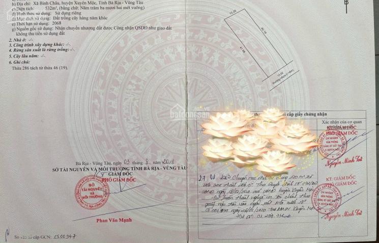 Bán lô xã Bình Châu, Xuyên Mộc đất view biển 532m2 (13.5x40m), có 120m2 thổ cư view biển Bình Châu ảnh 0