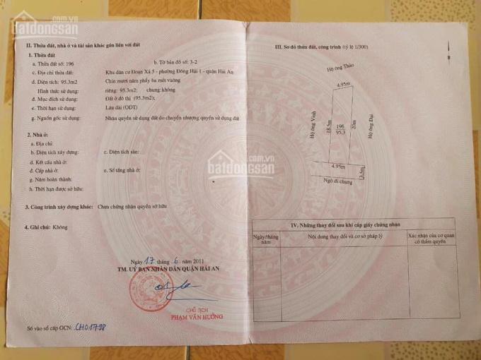 Chính chủ gửi bán lô đất trong ngõ 358 Đà Nẵng, Đông Hải 1, Hải An, Hải Phòng ảnh 0