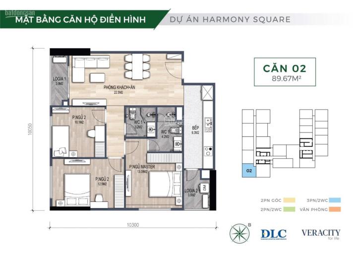 Suất ngoại giao chung cư 3PN Harmony Square, 3,6 tỷ ảnh 0