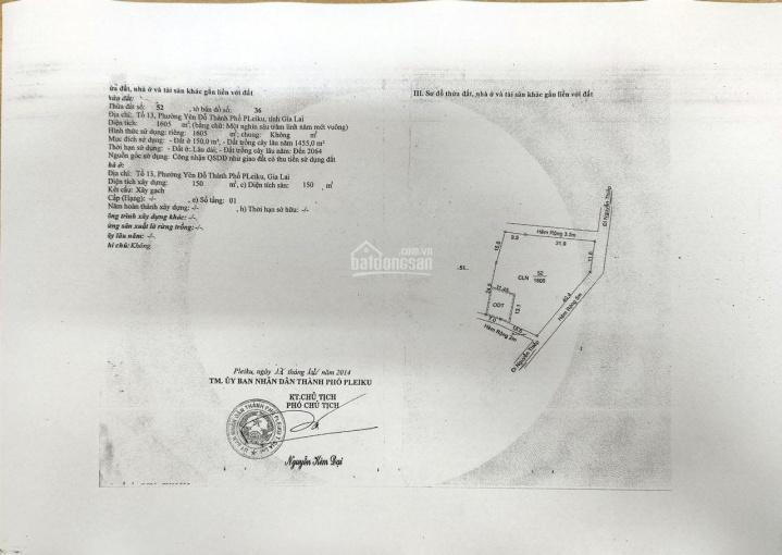 Cần bán 1605m2 đất tại TT thành Phố Pleiku, MT 52m. Thổ cư 150m2 hiện hữu ảnh 0