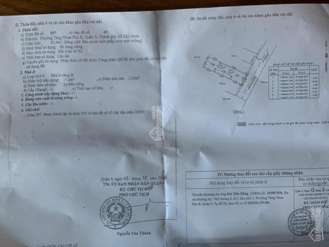 Chủ gửi cty nhà đường 6, phường Tăng Nhơn Phú B. DT 62m2, 1 trệt 2 lầu, giá 5.4 tỷ ảnh 0