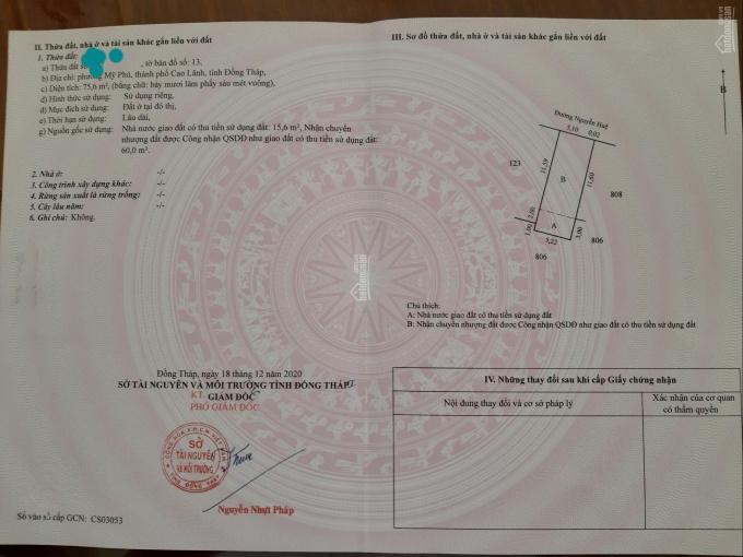 Chính chủ cần bán 75m2 đất thổ cư, mặt tiền 5m tại Mỹ Phú, Cao Lãnh, sổ đỏ chính chủ ảnh 0