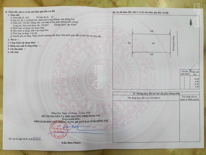 Chính chủ cần bán lô đất ấp 3, xã Bình Lộc, thành phố Long Khánh, tỉnh Đồng Nai ảnh 0