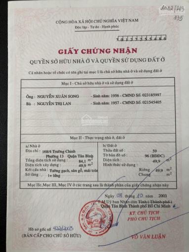 Chính chủ cần bán gấp lô đất ở đường Trường Chinh quận Tân Bình, SHR, giá TL. LH 0914190312 ảnh 0