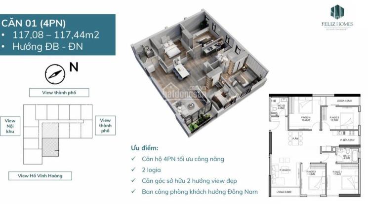 Bán căn hộ 4 phòng ngủ view đẹp, hướng mát, giá cực ưu đãi dự án Feliz Homes suất ngoại giao ảnh 0
