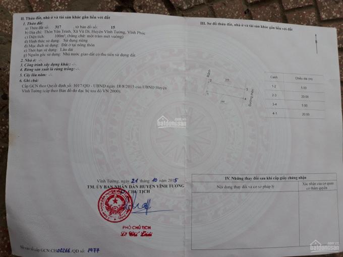 Bán đất Lê Xoay, ngõ 7, trục chính Yên Trình Vũ Di, 100m2, Đông Nam, Kinh doanh ảnh 0