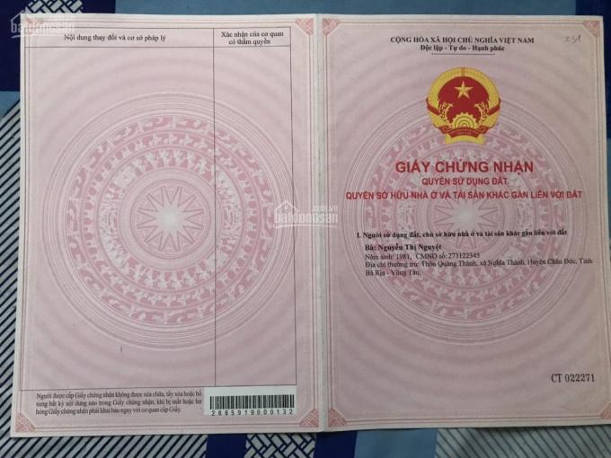 Cần bán 100m2 đất khu vực Long Điền - Bà Rịa Vũng Tàu, SHR 90m2 thổ cư CK 3%. LH: 0908 428 785 ảnh 0