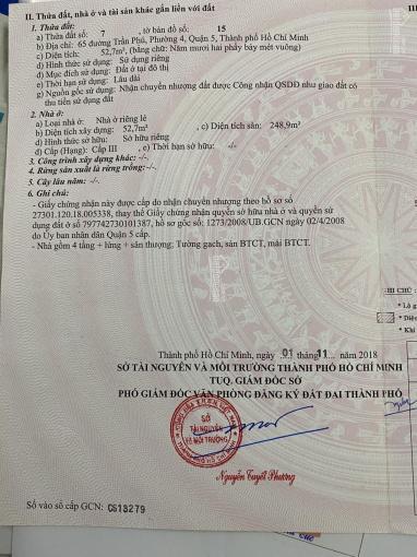 Nhà bán mặt tiền thực sự số 65 Trần Phú, phường 4, quận 5 ảnh 0