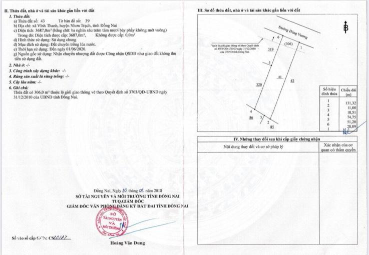 Chính chủ gửi bán lô 28m mặt tiền Hùng Vương, xã Vĩnh Thanh, 776 m2 thổ cư (diện tích 3687m2) ảnh 0