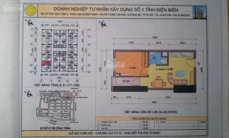 Cần bán căn hộ CC Đại Thanh 39m2 CT10B chỉ 510 triệu ảnh 0