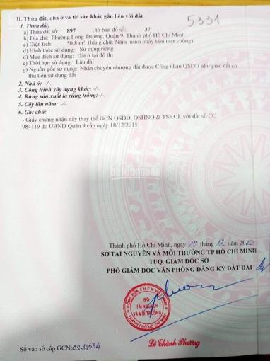 Bán lô 1/ Nguyễn Duy Trinh ngay chợ Long Trường 5x11m, giá 3 tỷ ảnh 0