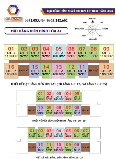Bán lỗ CC IA20 Ciputra, 1606 - A2 (92m2) & 1913 - B(107,5m2) & 1214 - A1(92m2), 21tr/m2. 0906217669 ảnh 0