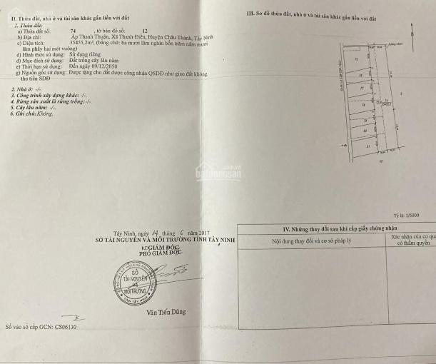 Chính chủ gửi bán 35.455m2 tại Ấp Thanh Thuận, xã Thanh Điền, Huyện Châu Thành, Tỉnh Tây Ninh ảnh 0