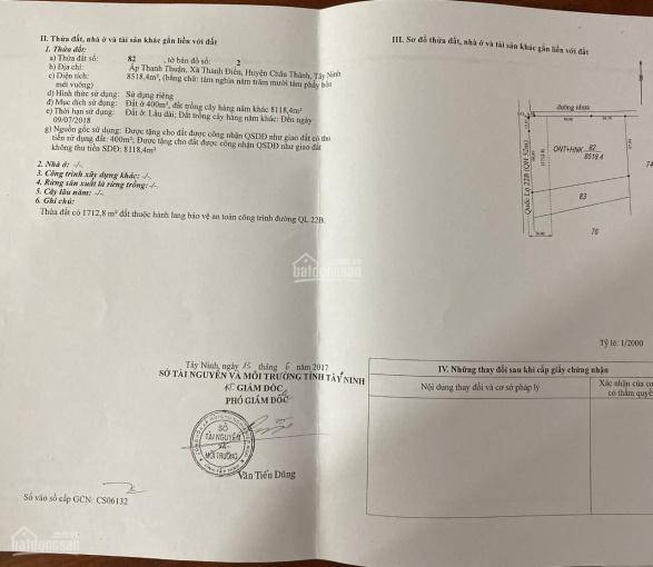 Chính chủ gửi bán lô mặt tiền QL22B, Tây Ninh vị trí đẹp 8518.4m2 ảnh 0