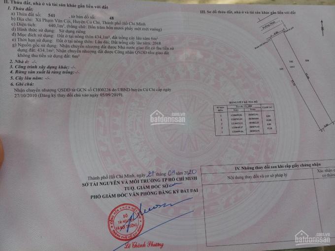 Bán nhà xã Phạm Văn Cội, Huyện Củ Chi, DT: 8x55=440m2 đất full thổ cư ảnh 0