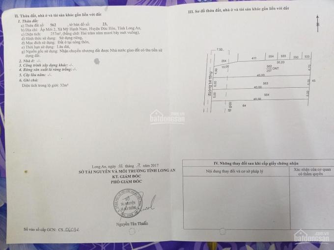 Bán lô đất thổ cư đường Gò Hưu, xã Mỹ Hạnh Nam, Đức Hòa, DT 257m2 ảnh 0
