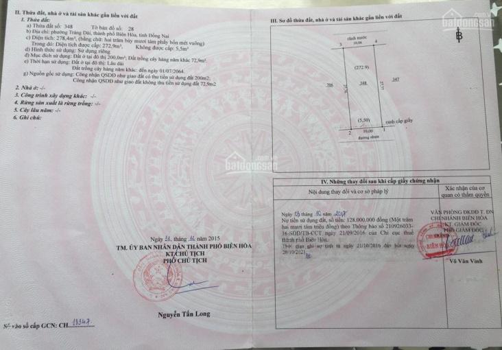 Bán nhà 10x27m, KP3, Phường Trảng Dài, Biên Hòa, từ Đồng Khởi vào 100m, sổ hồng thổ cư ảnh 0