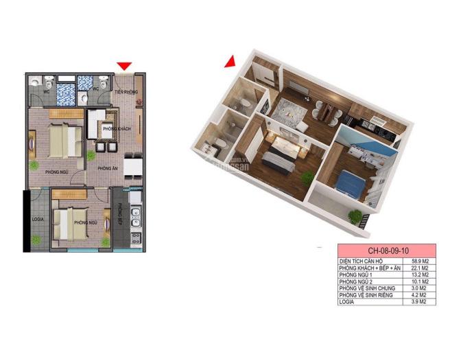 Cần bán gấp CH 2PN chung cư Ecohome 3 để lại gói vay 500tr, lãi suất 4,8% tầng đẹp. 0911694333 ảnh 0
