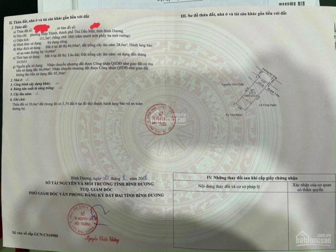 Bán lô đất Hiệp Thành 1/ Nguyễn Văn Tiết diện tích 111m2, LH 0968930839 ảnh 0