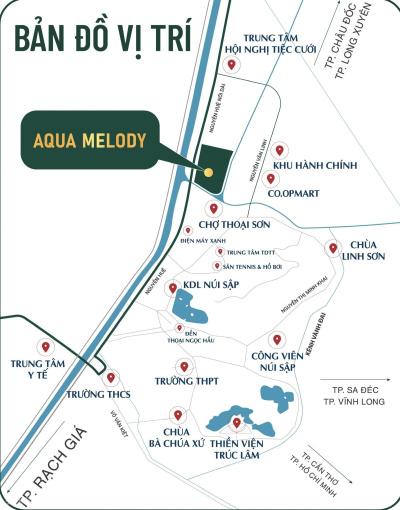 Đất nền Aqua Melody nằm giữa trung tâm 3 khu chợ, TT. Núi Sập, An Giang gần khu du lịch, view sông ảnh 0