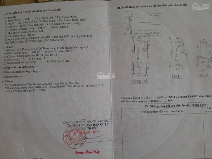 Chuyên bán đất nền Nam Long Trần Trọng Cung Q. 7, 8x24m, 5x25m, 5x24m - giá 10.8 tỷ (90 tr/m2) ảnh 0