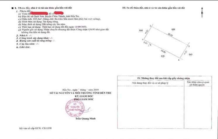 Chính chủ bán miếng đất Quới Sơn 345m2 ngang 12m 2 mặt tiền đường xe 16 chổ vivu cạnh KCN Giao Long ảnh 0