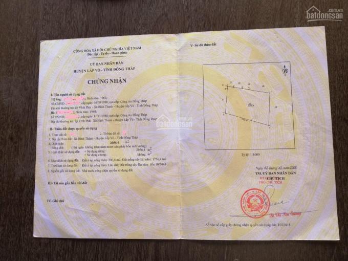 CC bán đất thổ cư Xã Bình Thành, Huyện Lấp Vò, Đồng Tháp 2400m2 ảnh 0