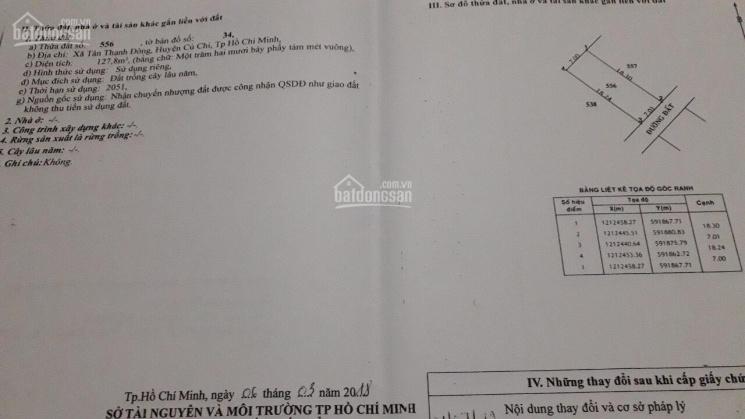 Chính chủ cần bán đất MT Đường Tân Thạnh Đông, Củ Chi, DT: 127,8m2, giá bán 1 tỷ 580 ảnh 0