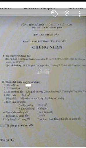 Bán nhà 2 mặt tiền đường lớn Điện Biên Phủ - Bà Triệu - Phường 7 - Tuy Hòa - Phú Yên ảnh 0