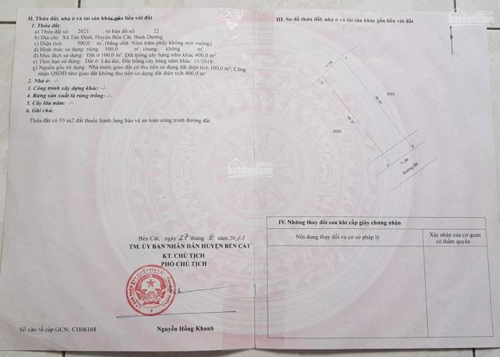 Bán 11 x 45m, TC 100m2 đường nhựa 6 mét thông trường tiểu học Định Phước, Tân Định ảnh 0