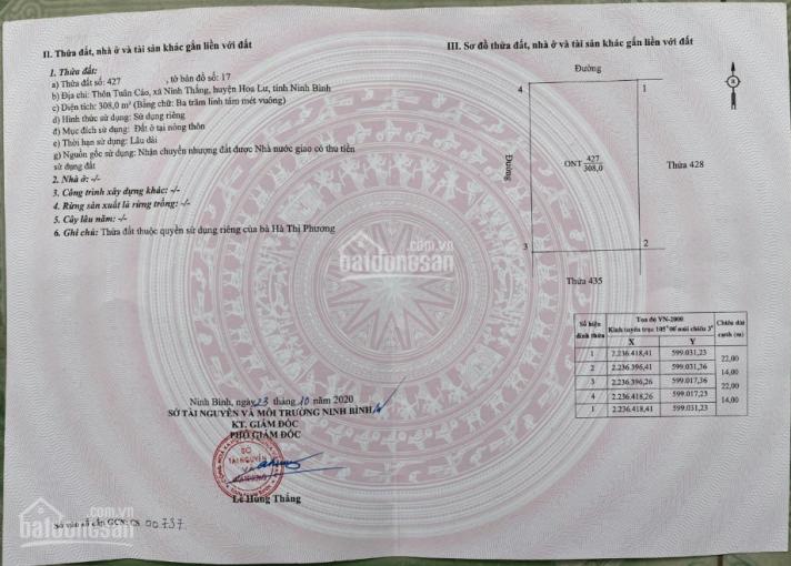Chính chủ cần bán gấp lô đất 2 mặt tiền xã Ninh Thắng, Hoa Lư, 308m2, MT: 22m, LH: 0812666262 ảnh 0