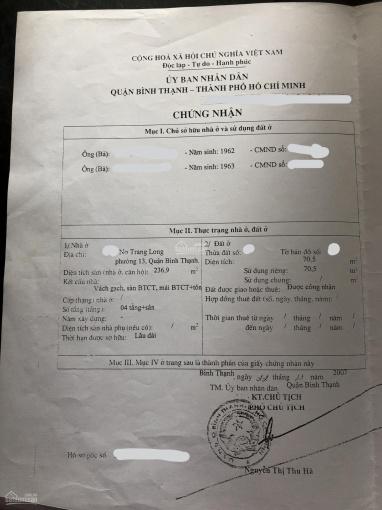Cần bán gấp nhà 2 MT Nơ Trang Long, P. 13, Bình Thạnh giá 18,5 tỷ LH: 0916900710 ảnh 0