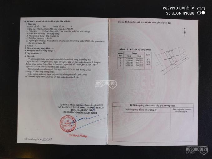 Cần bán lô đất thổ cư, đường Trịnh Khắc Lập, phường Thạnh Mỹ Lợi, Q2 ảnh 0